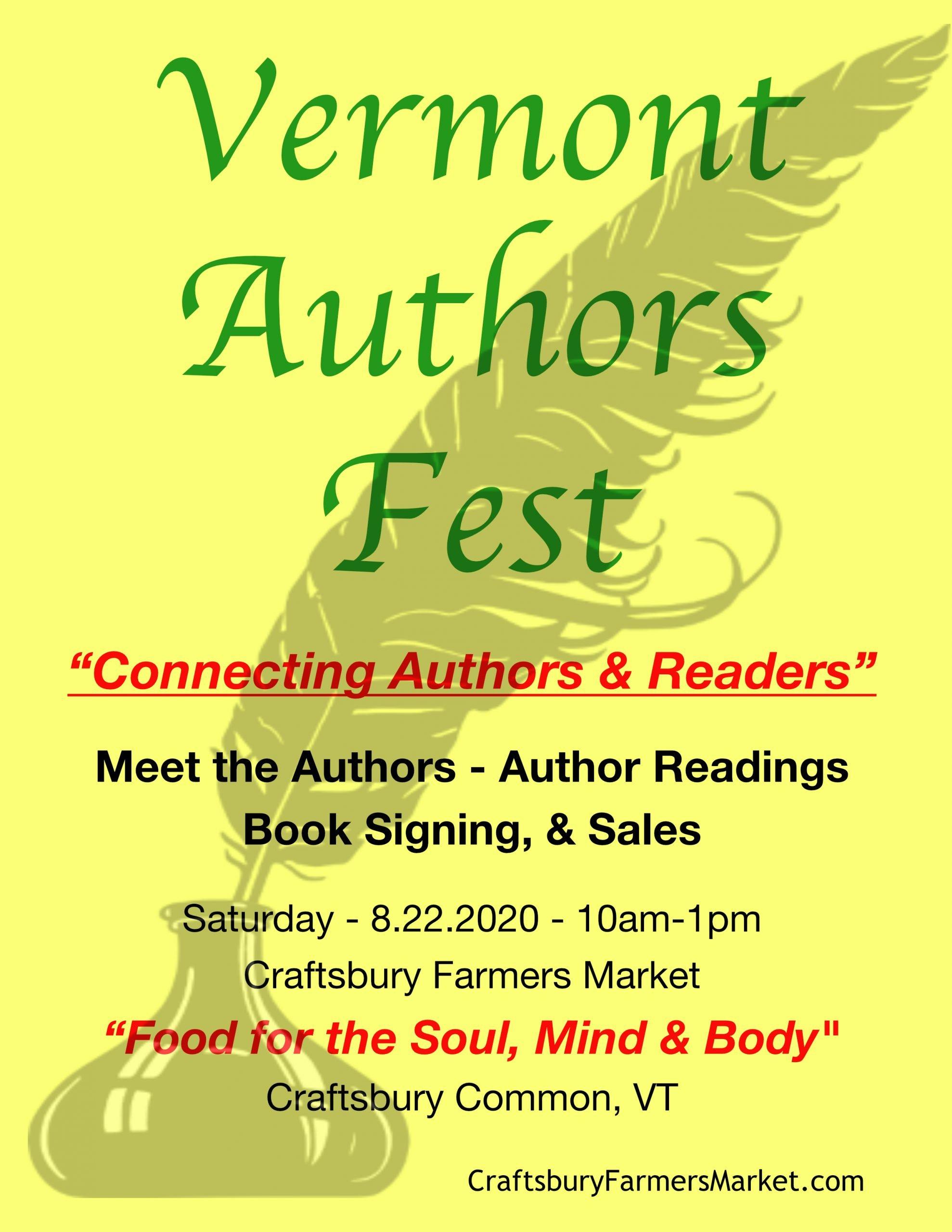 Vermont Authors Fest - 8.22.2020