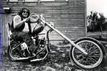 Bill on his '49 Panhead chopper - 1976