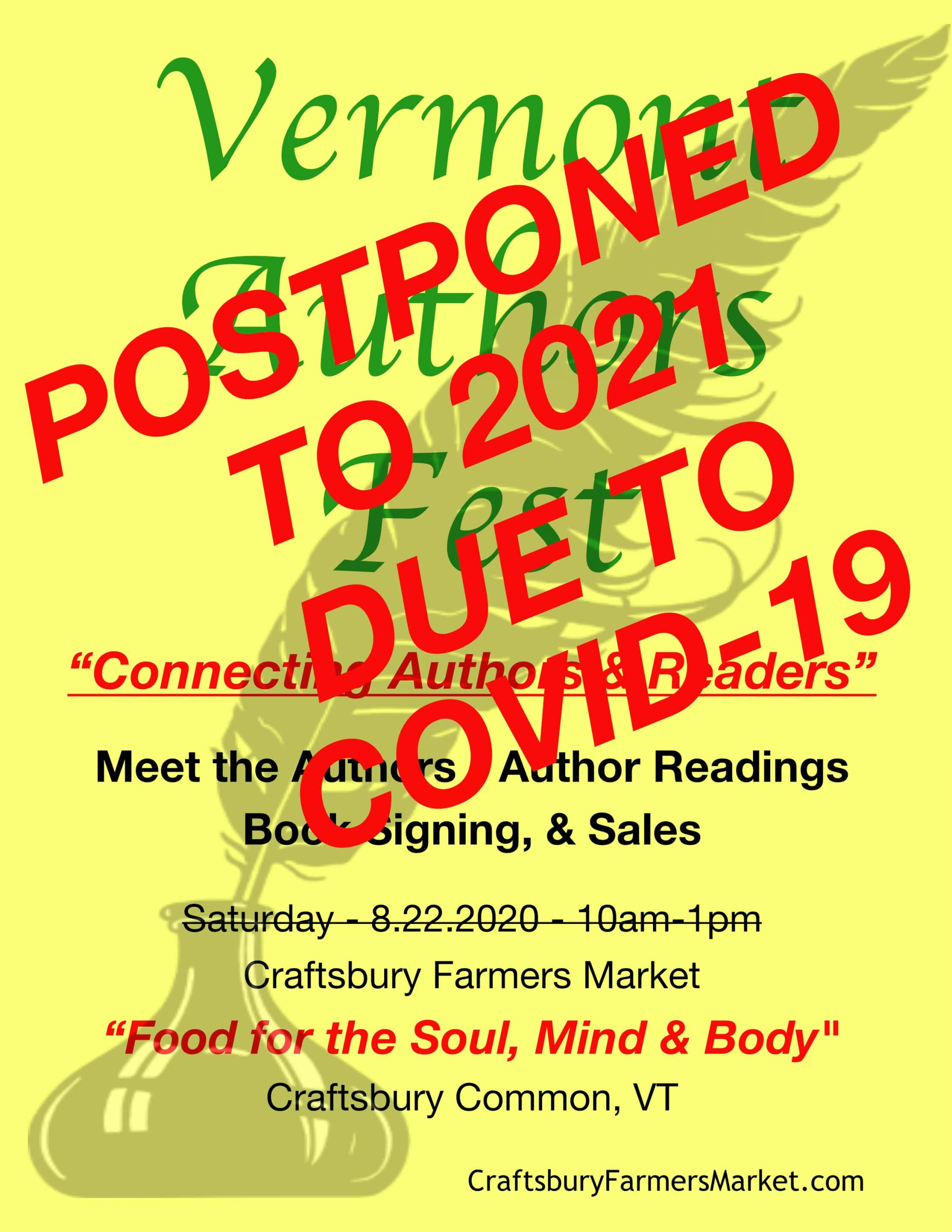 Postponed - 8.22.2020 Vermont Authors Fest